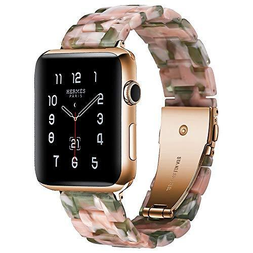 Watchbands Pink green / 42mm/44mm Resin Strap For Apple watc0h 5 4 44mm 40mm iwatch band 42mm 38mm stainless steel buckle Watchband bracelet Apple watch 5 4 3 2 1