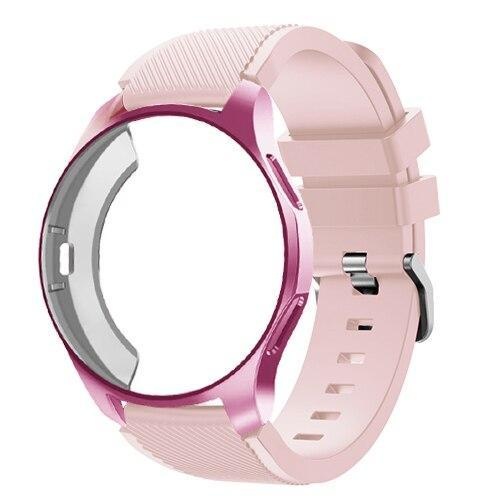 Watchbands pink sand 22 / Galaxy watch 42mm Case+20mm watch strap For Samsung gear S3 Frontier 46mm huawei watch GT strap 22mm watch band amazfit bip strap+protective case