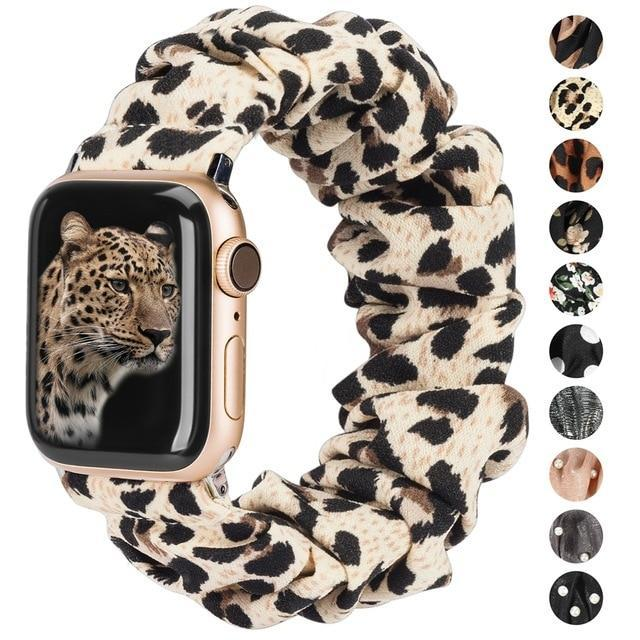 Watchbands Printed Fabric Band for Apple Watch Scrunchies 42mm 40mm Women Rose Gold Elastic Strap 38mm 44mm for iwatch Series 5 4 3