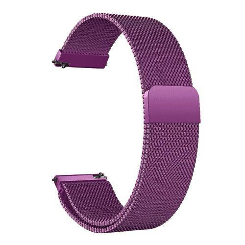 Watchbands purple / 22mm 20mm/22mm Universal Milanes loop strap Magnetic Closure Stainless Steel Watch Band Quick Release metal smartwatch bracelet belt