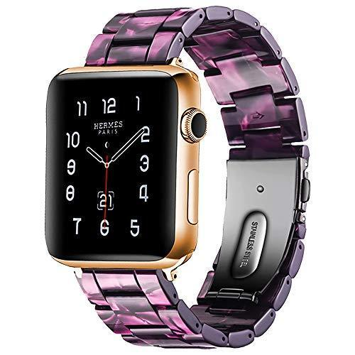 Watchbands purple linght / 42mm/44mm Resin Strap For Apple watc0h 5 4 44mm 40mm iwatch band 42mm 38mm stainless steel buckle Watchband bracelet Apple watch 5 4 3 2 1
