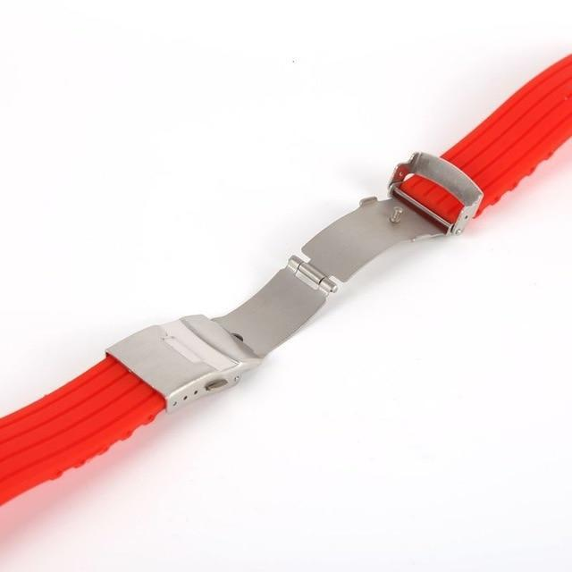 Watchbands Red / 16mm New Hot Rubber Watch Strap Band Deployment Buckle Waterproof Watchband 16mm,18mm, 20mm, 22mm, 24mm|Watchbands|