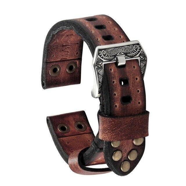Handmade Apple Watch band, vintage Tooled rivet rustic retro genuine leather men cuff strap in brown, black Series 6 5 4 3 - US Fast Shipping