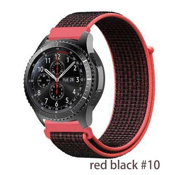 Watchbands red black 10 / 20mm Gear s3 Frontier strap For Samsung galaxy watch 46mm 42mm active 2 nylon 22mm watch band huawei watch gt strap amazfit bip 20 44
