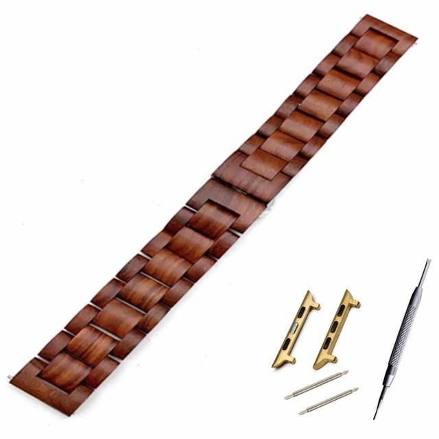 Watchbands Red brown go adapter / 38mm Natural Wood Watch Bracelet for Apple Watch Band 38/42mm Luxury Watch Accessories for IWatch Strap Watchband with Adapters