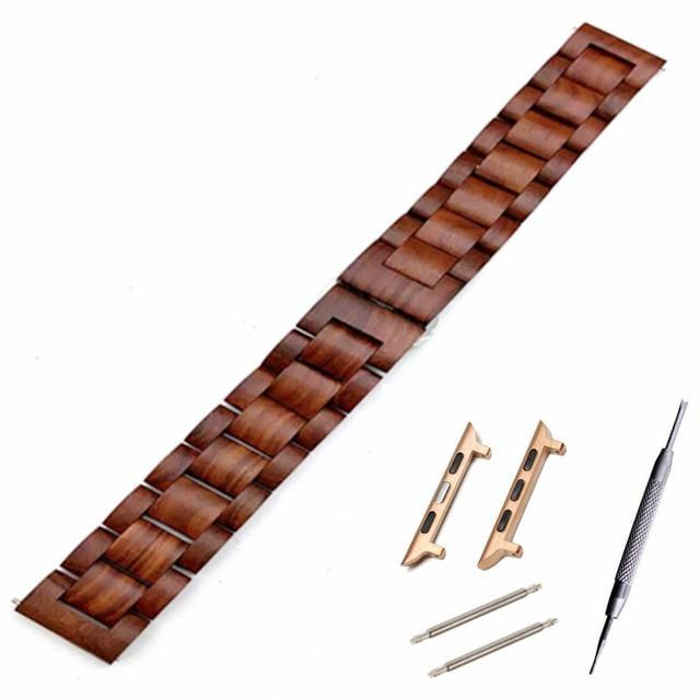Watchbands Red brown ro adapter / 38mm Natural Wood Watch Bracelet for Apple Watch Band 38/42mm Luxury Watch Accessories for IWatch Strap Watchband with Adapters