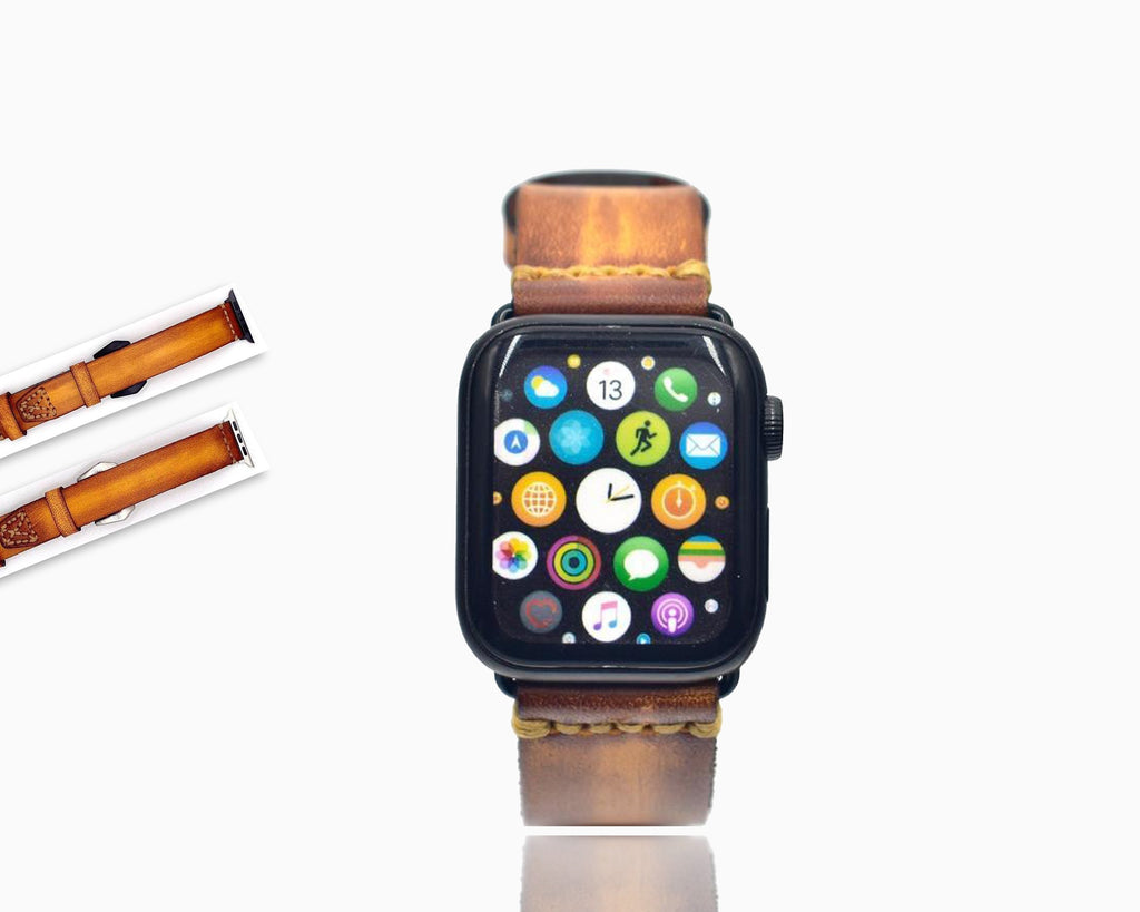 Watchbands Retro Luxury Cowhide Bracelet for Apple Watch Band 38mm 40mm Brown Cowhide Leather for iWatch Band 42mm 44mm Series 2 3 4 5 Strap