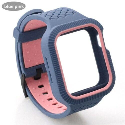 Watchbands rock pink / 42mm/44mm Case+watch strap For Apple watch band 44 mm/40mm iWatch band 42mm 38mm Woven Silicone watchband bracelet Apple watch 5 4 3 2 1 40