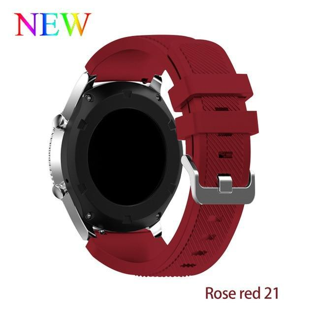 Watchbands Rose red 21 / 22mm 20 22mm watch band For Samsung Galaxy watch 46mm 42mm active 2 gear S3 Frontier strap huawei watch GT 2 strap amazfit bip 47 44