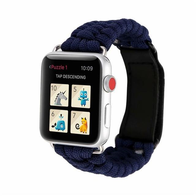 Watchbands Royal blue / 38mm/40mm Survival Rope strap For Apple watch 5 band 44 mm 40mm iWatch band 42mm 38mm Outdoors Leather clasp Bracelet Apple watch 5 4 3 2|Watchbands