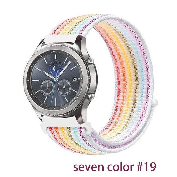Watchbands seven color 19 / 20mm Gear s3 Frontier strap For Samsung galaxy watch 46mm 42mm active 2 nylon 22mm watch band huawei watch gt strap amazfit bip 20 44