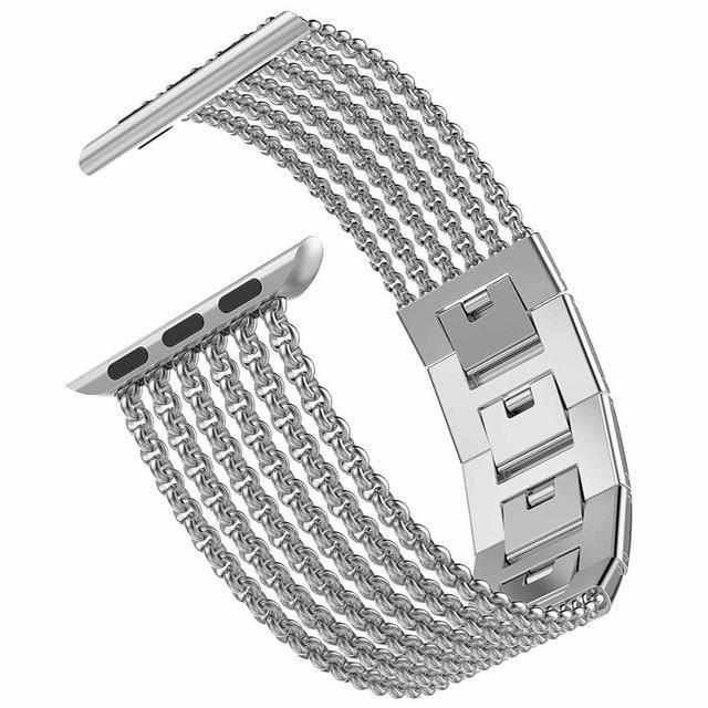Watchbands Silver / 38mm 40mm Apple Watch Band iWatch Womens Mesh Loop Stainless Steel Replacement Metal Beauty Strap fits Series 5 4 3, 38mm 40mm 42mm 44mm