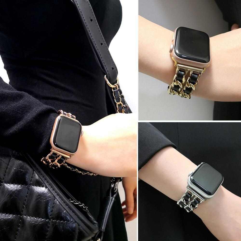 Watchbands Stainless Steel Chain with Leather Bracelet Strap for Apple Watch Series 5/4/3/2/1 38mm, 40mm, 42mm, 44mm