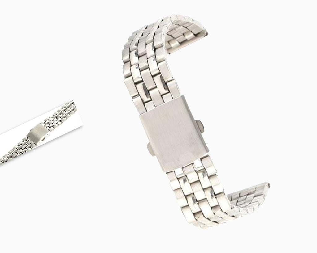 Watchbands Stainless Steel Metal Strap Silver Watch Band Unisex Bracelet 18 20 22mm Watch Band Double Fold Deployment Clasp Watch Buckle|Watchbands|