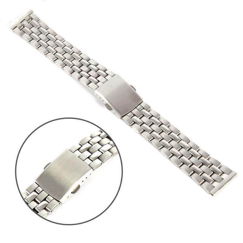 Watchbands Stainless Steel Metal Strap Silver Watch Band Unisex Bracelet 18 20 22mm Watch Band Double Fold Deployment Clasp Watch Buckle Watchbands