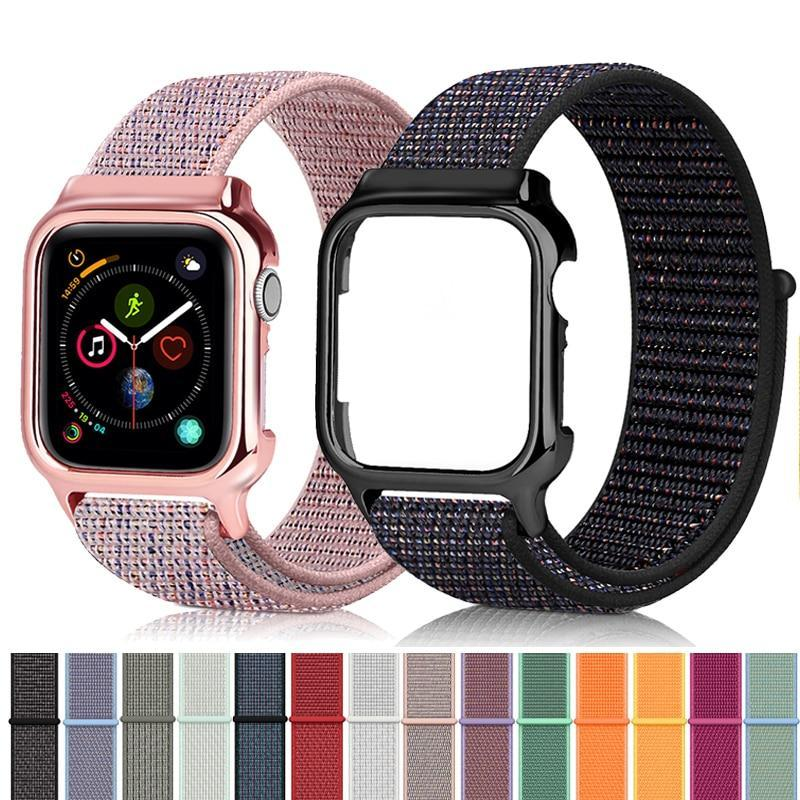 Watchbands Strap for Apple watch band 44mm 40mm correa iwatch series 5 4 sport nylon loop+case for Apple watch 4 5 high quality accessories