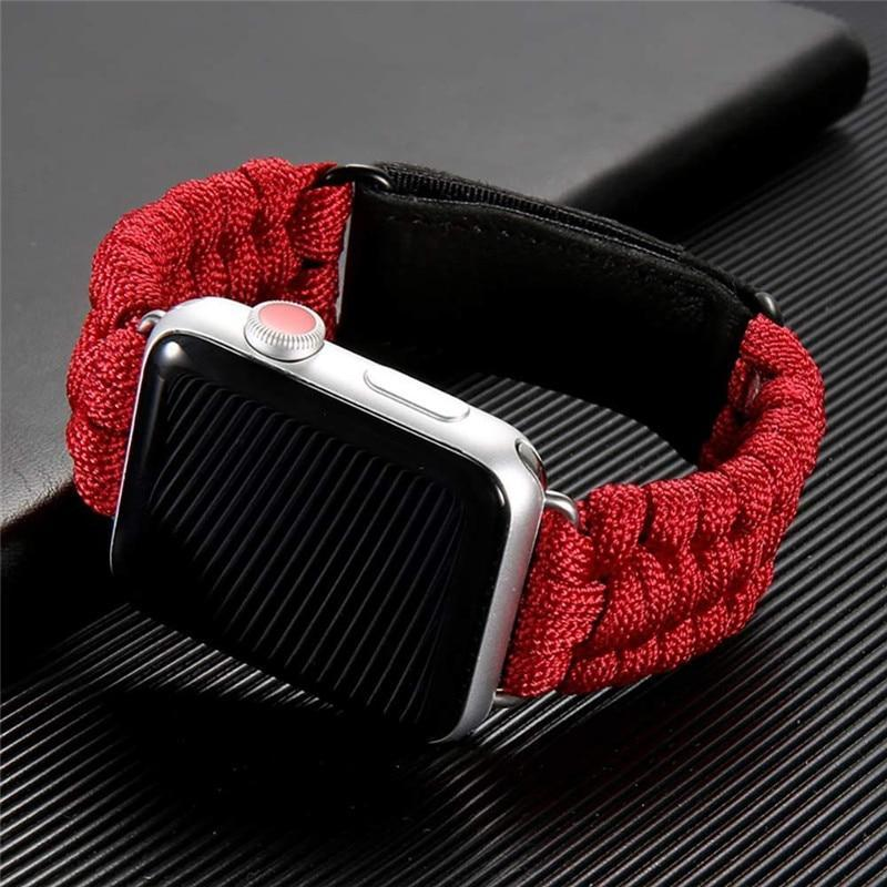 Watchbands Survival Rope strap For Apple watch 5 band 44 mm 40mm iWatch band 42mm 38mm Outdoors Leather clasp Bracelet Apple watch 5 4 3 2|Watchbands