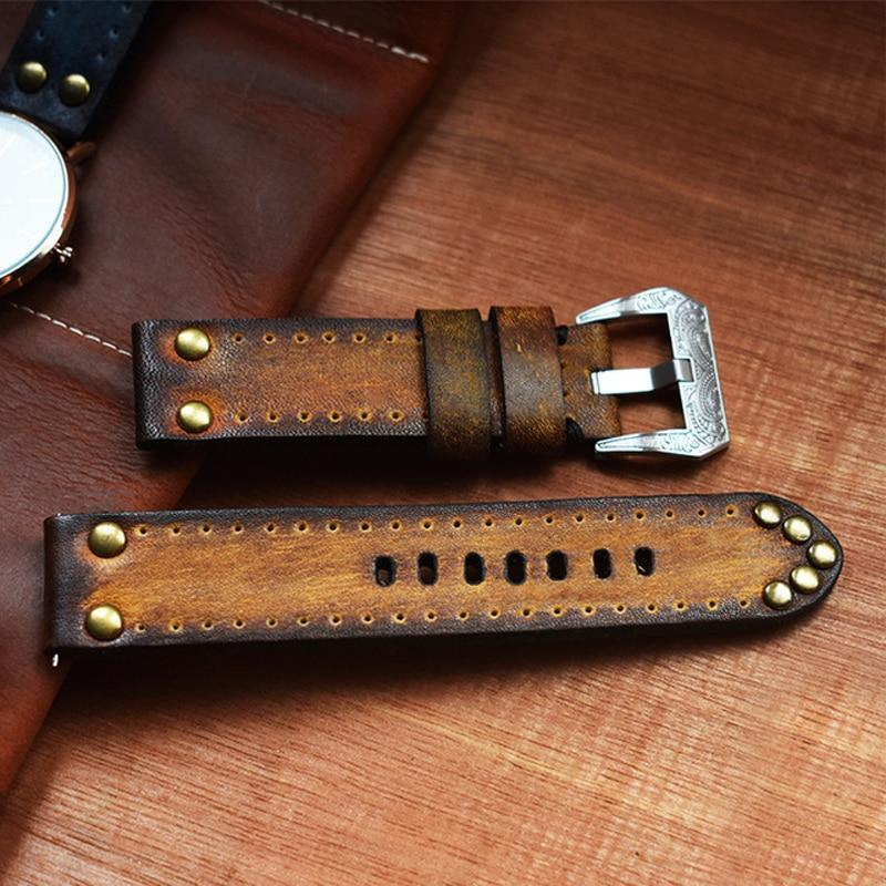 Watchbands Tooled leather retro Watch Band For Apple Watch 42mm 38mm Series 5 4 3 2 1 Replacement Strap For iwatch Wrist Bracelet Strap