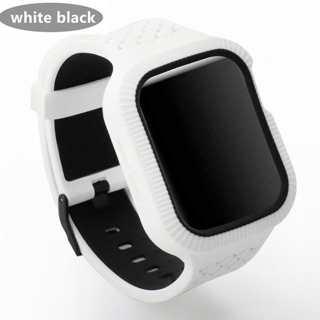 Watchbands white black / 42mm/44mm Case+watch strap For Apple watch band 44 mm/40mm iWatch band 42mm 38mm Woven Silicone watchband bracelet Apple watch 5 4 3 2 1 40
