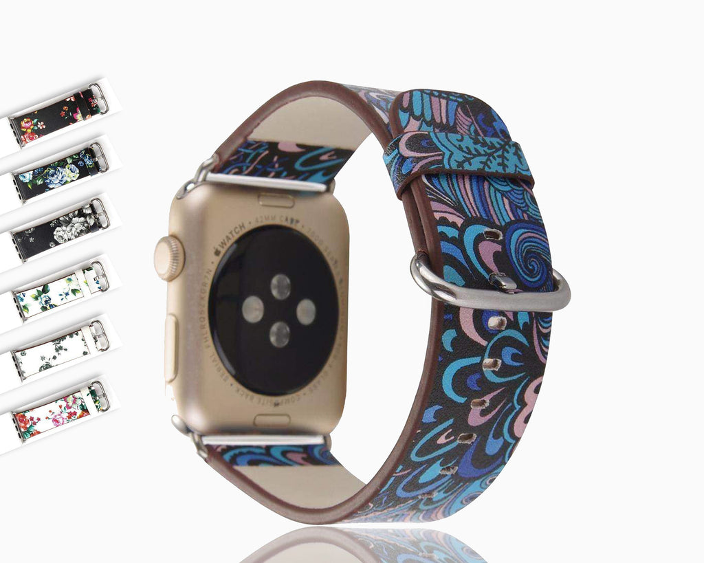 watches Apple Floral flower watch band, Print Smart iWatch strap, 44mm, 40mm, 42mm, 38mm, Series 1 2 3 4 5