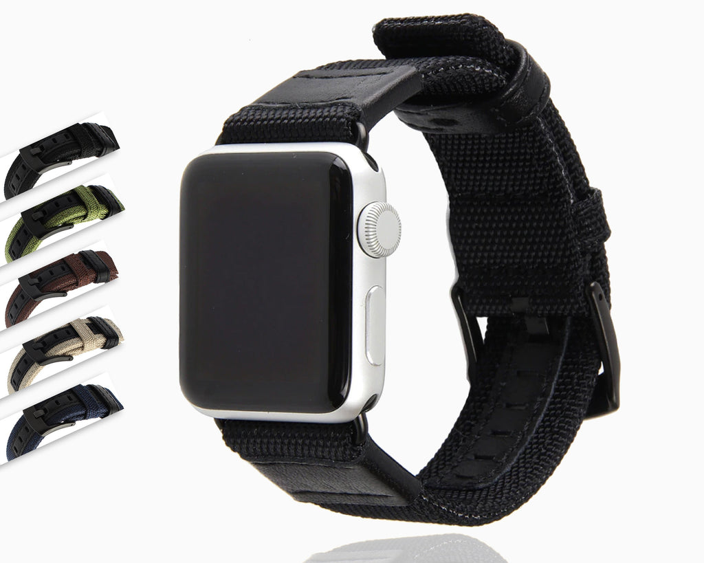 Watches Apple Watch band Canvas Leather Strap black adapator, 44mm/ 40mm/ 42mm/ 38mm iwatch Series 1 2 3 4 5 Woven Nylon sport wrist bracelet iwatch watchband, USA Fast Shipping