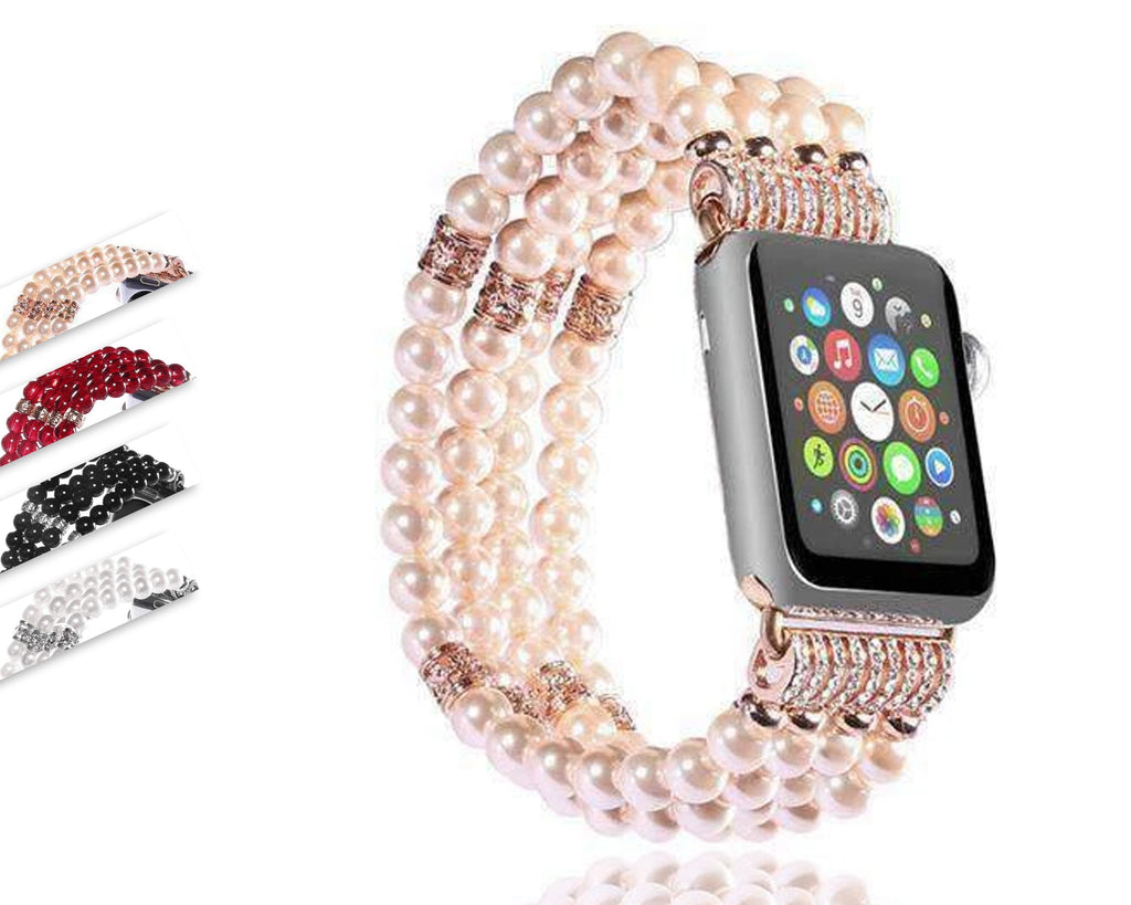Watches Apple Watch Series 5 4 3 2 Band, Bling Stretch strap, Bling Pearls fits 38mm, 40mm, 42mm, 44mm