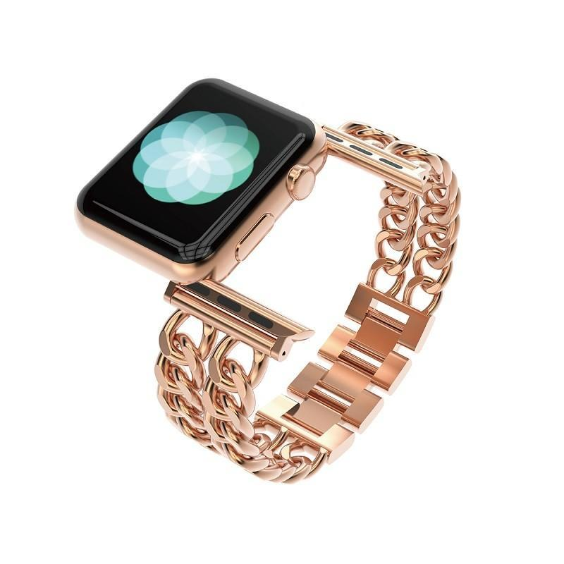 Watches Apple Watch Series 5 4 3 2 Band, Double Chain link Bracelet Stainless Steel Metal iWatch Strap, 38mm, 40mm, 42mm, 44mm