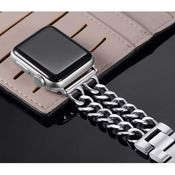 Watches (EBAY LISTING) Apple Watch Series 5 4 3 2 Band, Double Chain link Bracelet Stainless Steel Metal iWatch Strap, 38mm, 40mm, 42mm, 44mm