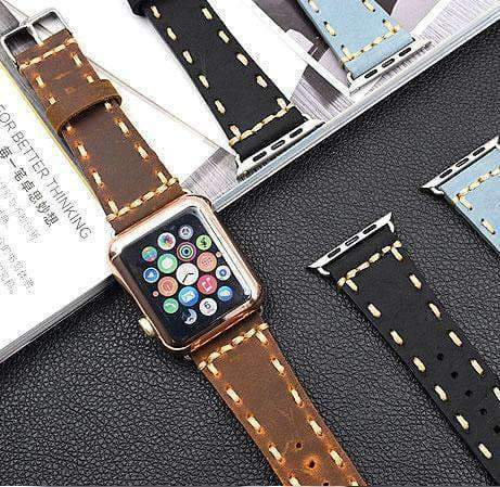 Watches Apple Watch Series 5 4 3 2 Band, Handmade Vintage tooled Genuine Leather Strap 38mm, 40mm, 42mm, 44mm - US Fast Shipping