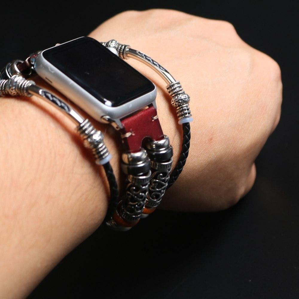 Watches Apple Watch Series 5 4 3 2 Band,  Homemade Ethnic Vintage Bead with leather, Retro Punk Style Bracelet 38mm, 40mm, 42mm, 44mm