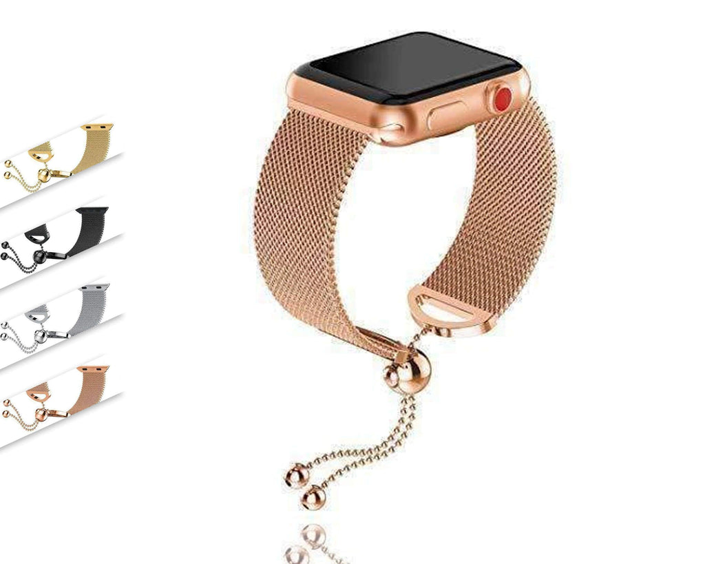 Watches Apple Watch Series 5 4 3 2 Band, Milanese adjustable Mesh Loop Cuff Stainless Steel Bracelet fits 38mm, 40mm, 42mm, 44mm