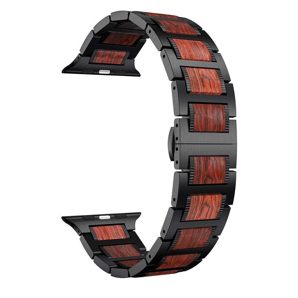Watches Natural Red Sandalwood & Steel for Apple Watch Series 6 5 4 Watchband