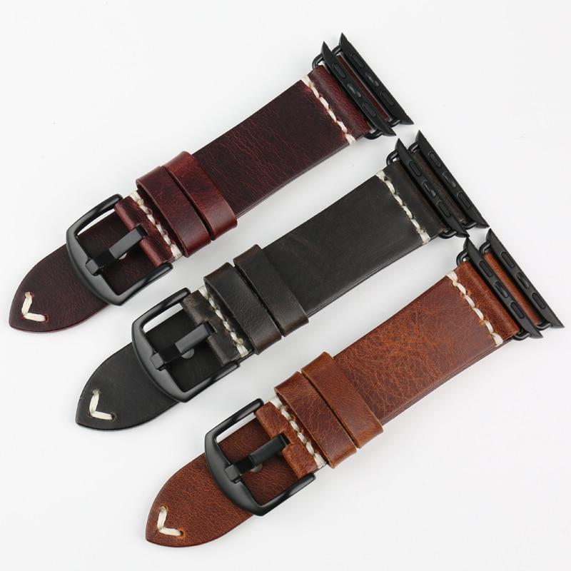 Watches Apple Watch Series 5 4 3 2 Band, Vintage Oil Wax Genuine Leather Strap 38mm, 40mm, 42mm, 44mm