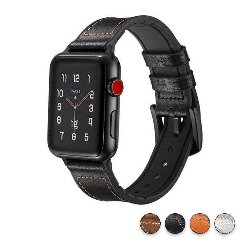 Watches Black / 38mm / 40mm Apple Watch Series 5 4 3 2 Band, Leather over Silicone Apple watch band strap 38mm, 40mm, 42mm, 44mm - US Fast Shipping