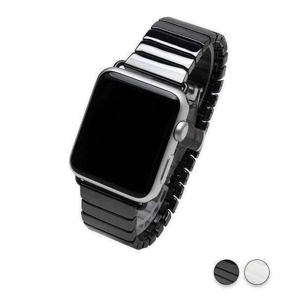 Watches Black / 38mm/42mm Apple Watch ceramic bands 2, stainless Steel Watchband for iWatch 44mm/ 40mm/ 42mm/ 38mm Series 1 2 3 4