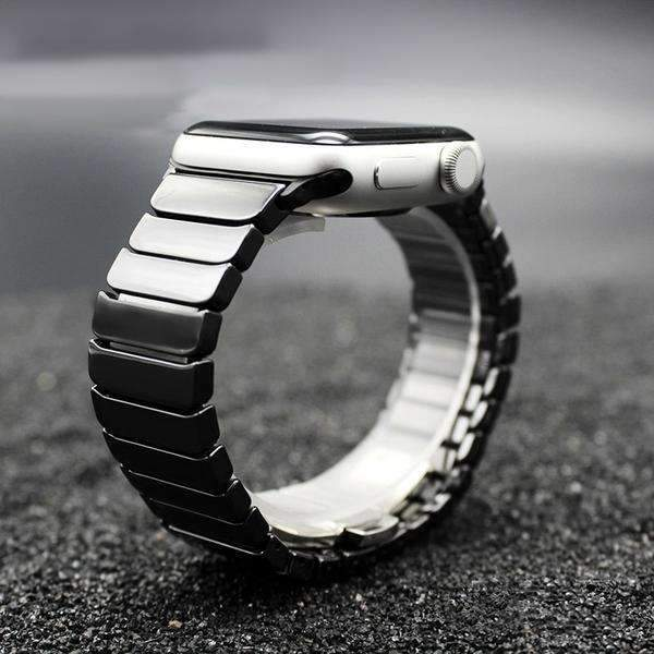 Watches black / 42mm/44mm Apple Watch ceramic band 2, stainless Steel Watchband for iWatch 44mm/ 40mm/ 42mm/ 38mm Series 1 2 3 4