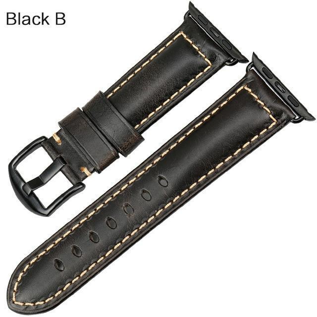 Watches Black buckle with black leather / 38mm / 40mm Apple Watch Series 5 4 3 2 Band, Genuine Leather Band Oil Wax Strap 38mm, 40mm, 42mm, 44mm