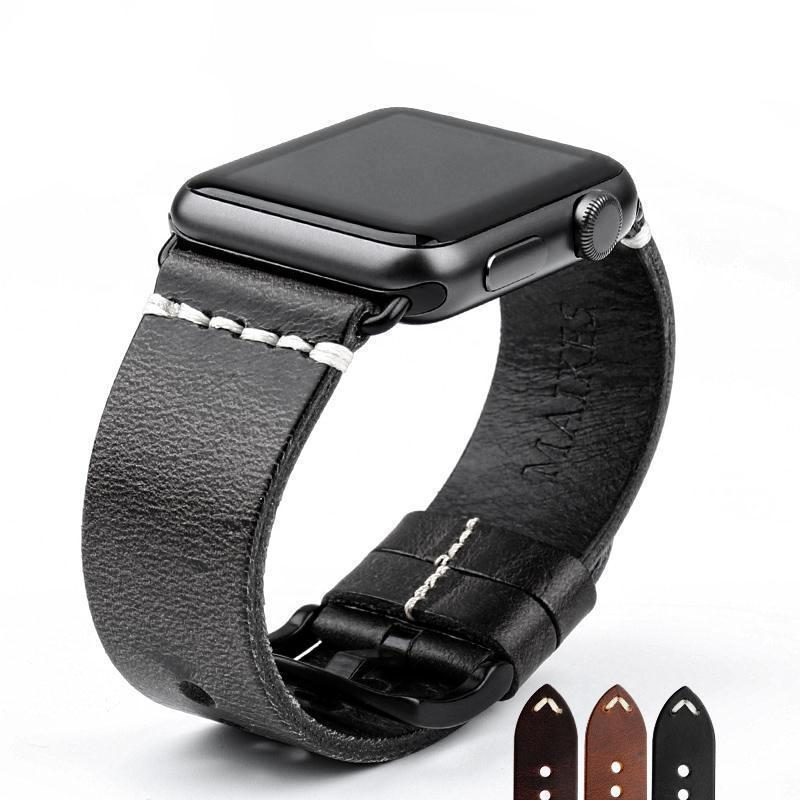 Watches Black buckle with black leather / 38mm / 40mm Apple Watch Series 5 4 3 2 Band, Vintage Oil Wax Genuine Leather Strap 38mm, 40mm, 42mm, 44mm