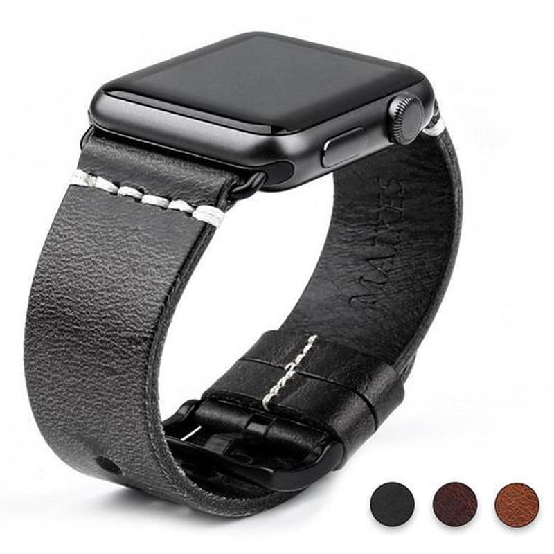Watches Black buckle with black leather / 42mm / 44mm Apple Watch Series 5 4 3 2 Band, Vintage Oil Wax Genuine Leather Strap 38mm, 40mm, 42mm, 44mm