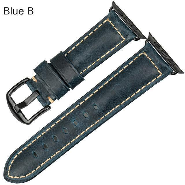 Watches Black buckle with blue leather / 38mm / 40mm Apple Watch Series 5 4 3 2 Band, Genuine Leather Band Oil Wax Strap 38mm, 40mm, 42mm, 44mm