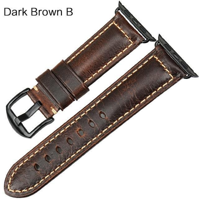 Watches Black buckle with dark brown leather / 38mm / 40mm Apple Watch Series 5 4 3 2 Band, Genuine Leather Band Oil Wax Strap 38mm, 40mm, 42mm, 44mm