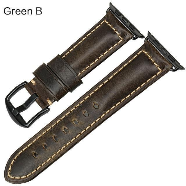 Watches Black buckle with green leather / 38mm / 40mm Apple Watch Series 5 4 3 2 Band, Genuine Leather Band Oil Wax Strap 38mm, 40mm, 42mm, 44mm