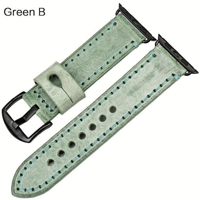 Watches Black buckle with green leather / 42mm / 44mm Apple Watch Series 5 4 3 2 Band, Green Genuine Leather Watchband Watch Accessories Bracelet Wristband 38mm, 40mm, 42mm, 44mm