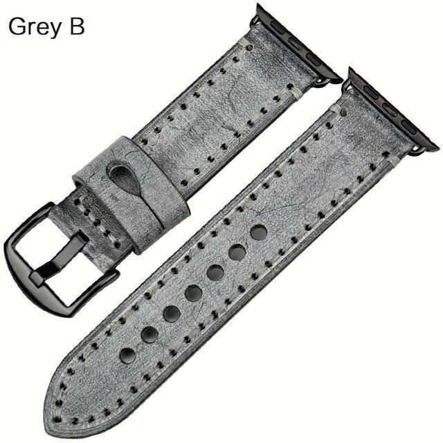Watches Black buckle with grey leather / 42mm / 44mm Apple Watch Series 5 4 3 2 Band, Green Genuine Leather Watchband Watch Accessories Bracelet Wristband 38mm, 40mm, 42mm, 44mm
