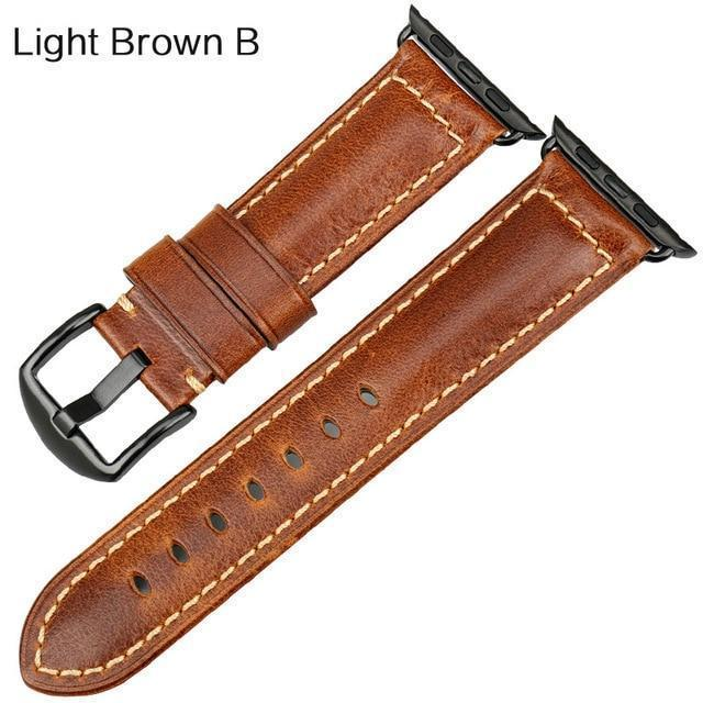 Watches Black buckle with light brown leather / 38mm / 40mm Apple Watch Series 5 4 3 2 Band, Genuine Leather Band Oil Wax Strap 38mm, 40mm, 42mm, 44mm