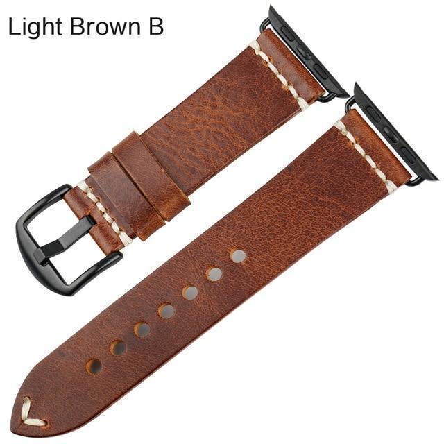 Watches Black buckle with light brown leather / 42mm / 44mm Apple Watch Series 5 4 3 2 Band, Vintage Oil Wax Genuine Leather Strap 38mm, 40mm, 42mm, 44mm