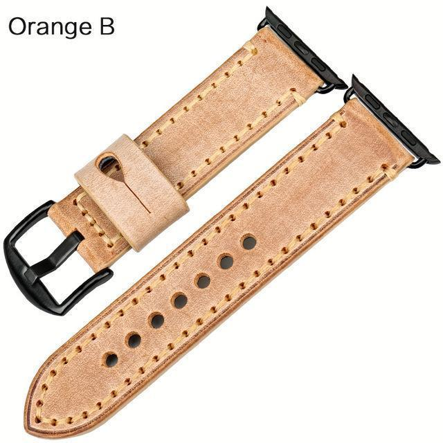 Watches Black buckle with orange leather / 42mm / 44mm Apple Watch Series 5 4 3 2 Band, Green Genuine Leather Watchband Watch Accessories Bracelet Wristband 38mm, 40mm, 42mm, 44mm
