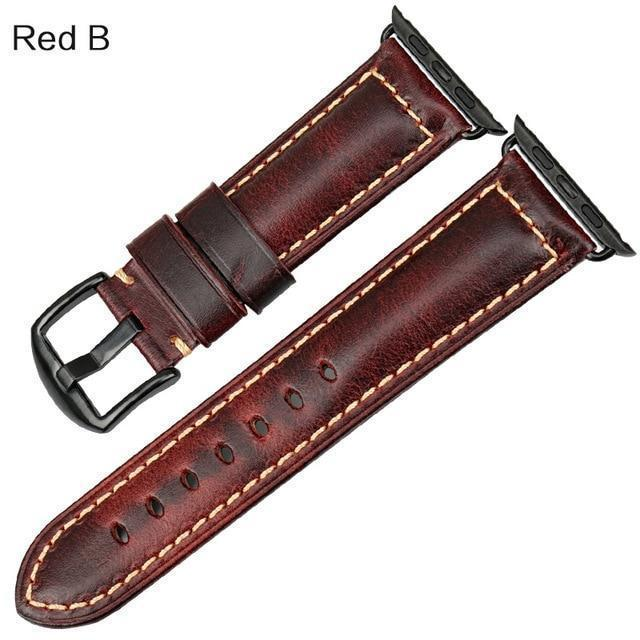 Watches Black buckle with red leather / 38mm / 40mm Apple Watch Series 5 4 3 2 Band, Genuine Leather Band Oil Wax Strap 38mm, 40mm, 42mm, 44mm