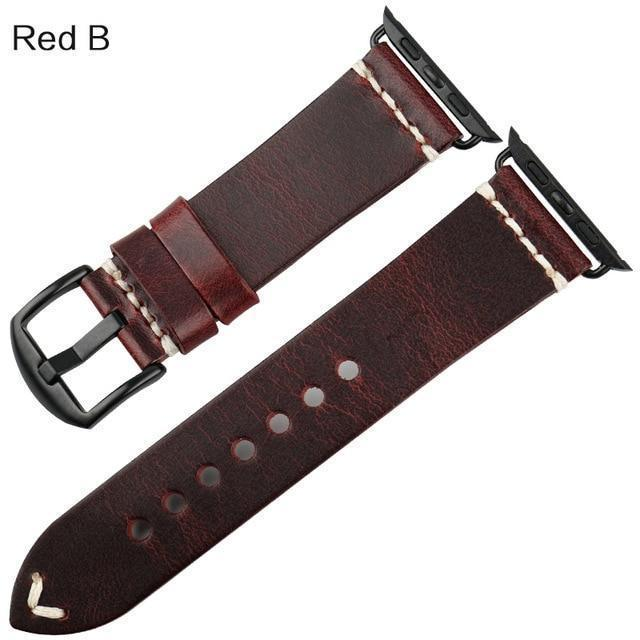 Watches Black buckle with red leather / 42mm / 44mm Apple Watch Series 5 4 3 2 Band, Vintage Oil Wax Genuine Leather Strap 38mm, 40mm, 42mm, 44mm