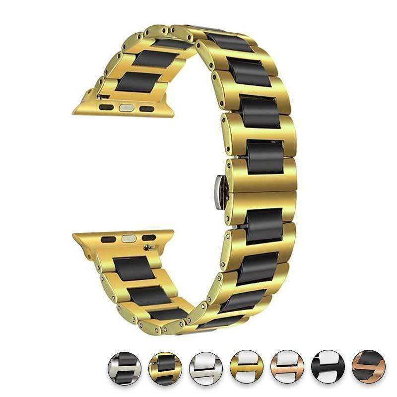 Watches Black Gold / 38mm/42mm Apple Watch ceramic band 2, stainless Steel Watchband for iWatch 44mm/ 40mm/ 42mm/ 38mm Series 1 2 3 4